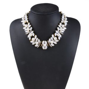 White Pearl Collar Choker Necklace