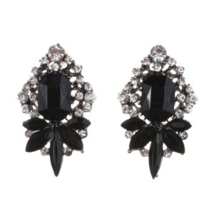 Black Crystal Fashion Statement Earrings