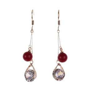 Gold Teardrop and Red Beads Earrings