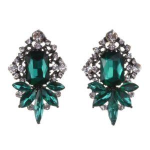Green Crystal Fashion Statement Earrings