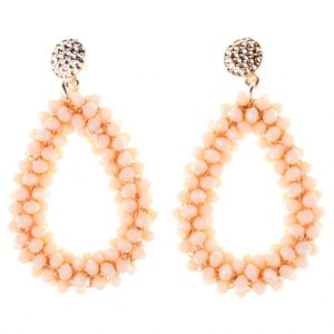 Cream Beads Water Drop Earrings