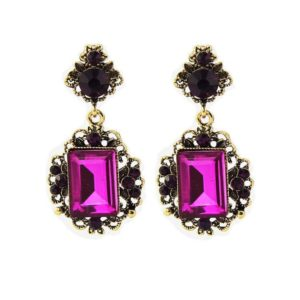 Purple Vintage Shiny Resin Stone Drop Earrings