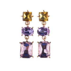 Purple Trendy Geometric Crystal Statement Earrings