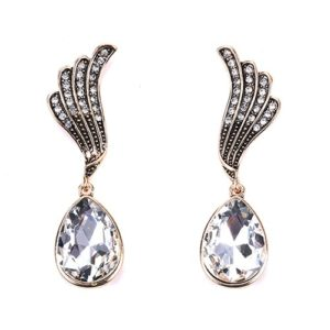 Clear Crystal Water drop Wing Earrings