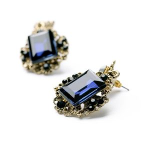 Blue Vintage Shiny Resin Stone Drop Earrings