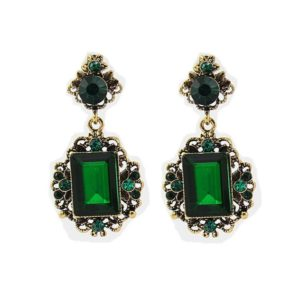 Green Vintage Shiny Resin Stone Drop Earrings