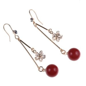 Gold Flower and Red Beads Earrings