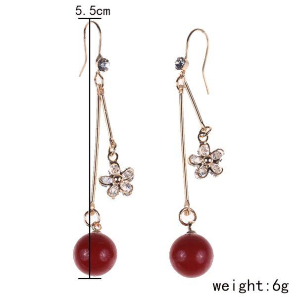 Buy online from Alora NZ Luxury Crystal Long Drop Earrings Flower Cubic Zircon Jewelry Earring for Women Red Beads Wedding Jewelry