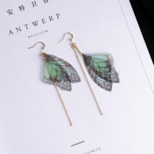 Green Yarn Butterfly Earrings