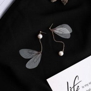 Grey Butterfly Wing Earrings