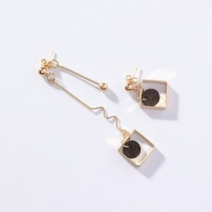 Gold Colour Black Circle Wave Chain Earrings