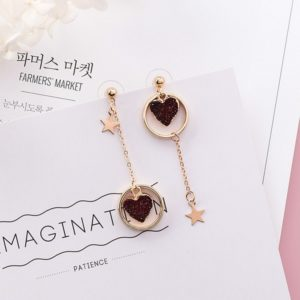 Black Love Heart Earrings