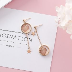 Apricot Colour Love Heart Earrings