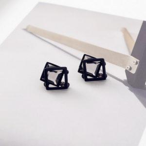 Grey Square Stud Earrings