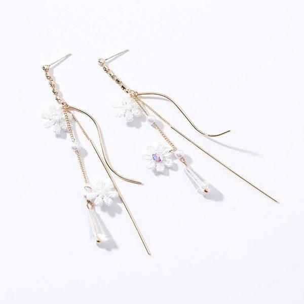 Jewellery   Rings   Earrings   Pendants   Necklaces   Body Jewellery   Charm   NZ   Korean Style Lace Flower Long Tassel Earrings For Women