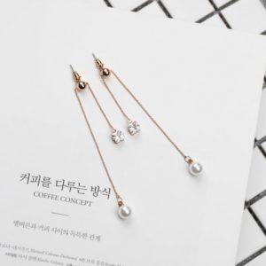 Rose Gold Color Long Pearl Drop Earrings