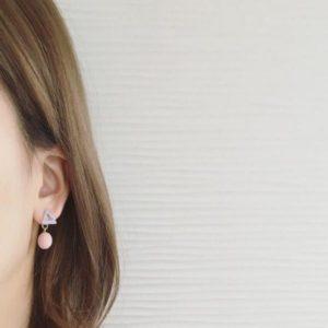 Pink Small Geometric Dangle Earrings