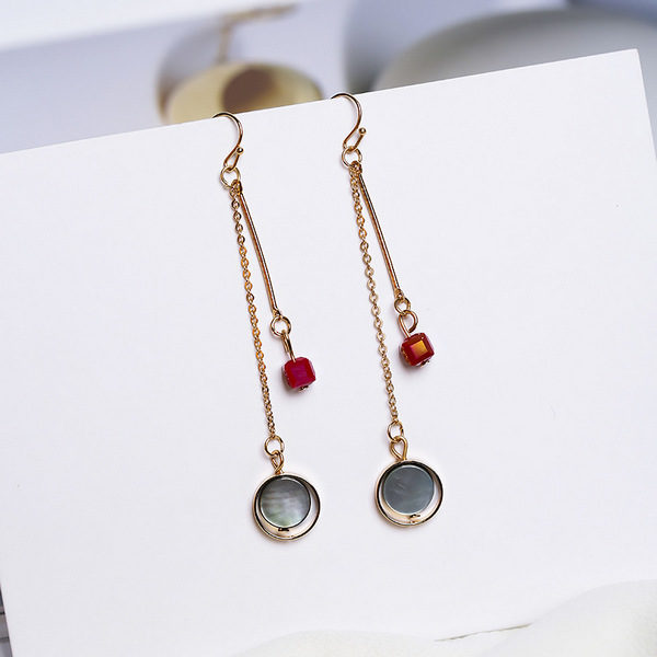 Buy Jewellery Online New Zealand |2019 Elegant Red Cubes and Simple Circle Round Shell Earrings For Women Delicate Red Rhinestone boucles d'oreilles