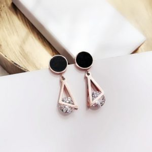 Simple Dangle Geometric Shiny Rhinestone Round Earrings