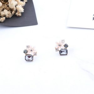 Fashion Flower Square Crystal Stud Earrings