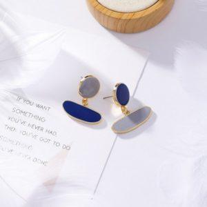 Colorful Glaze Geometric Oval Dangle Earrings