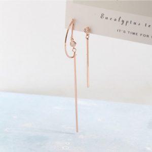 Korean Rose Gold Color Asymmetric Circle Drop Earrings