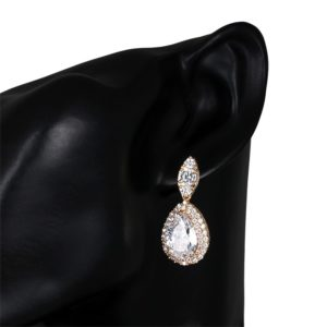 Teardrop and Marquise Cubic Zirconia CZ Crystal Necklace Earring Bridal Jewelry Set