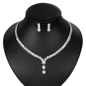 Star Flower Cubic Zirconia CZ Crystal Bridal Jewelry Set in Rhodium Silver Color Plated