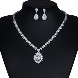 Sparkling Cubic Zirconia Large Teardrop White Gold Color Plated Necklace and Earring Bridal Set