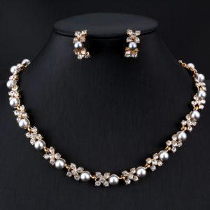 Imitation Pearl Necklace Earrings Set -04