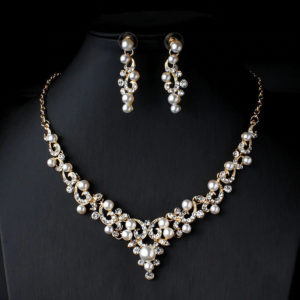 Imitation Pearl Necklace Earrings Set -05