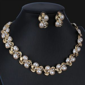 Imitation Pearl Necklace Earrings Set -06